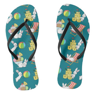 Bunnies at the Beach Flip Flops