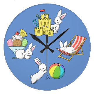 Bunnies at the Beach Large Clock