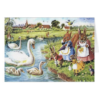 Bunnies Feeding the Swans Card