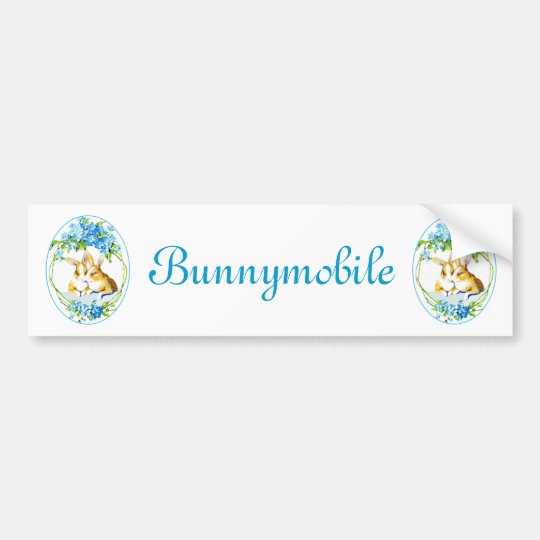 Bunnies In The Blue Flowers Bumper Sticker