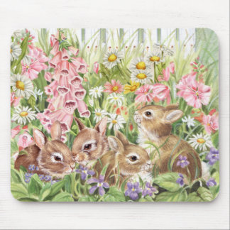 Bunnies in the Flowers Mouse Mat