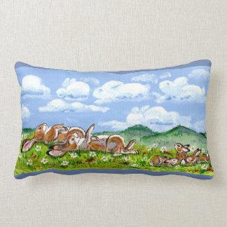 Bunnies Watching Clouds Art Designer Accent Pillow