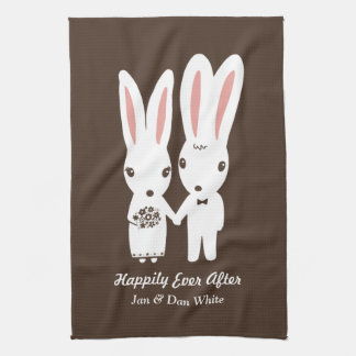 Bunnies Wedding Bride and Groom with Custom Text Tea Towel