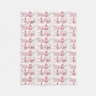 Bunnies with pink stuff fleece blanket