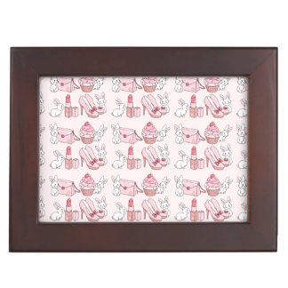 Bunnies with pink stuff keepsake box