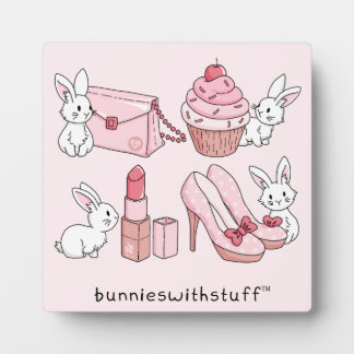 Bunnies with pink stuff plaque