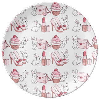 Bunnies with pink stuff porcelain plates