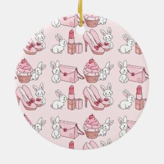 Bunnies with pink stuff round ceramic decoration