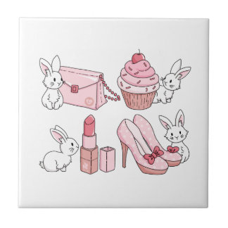 Bunnies with pink stuff tile