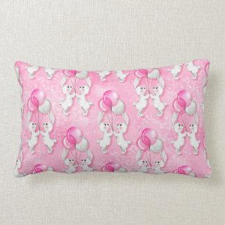 Bunny and balloons. Pink Lumbar Cushion