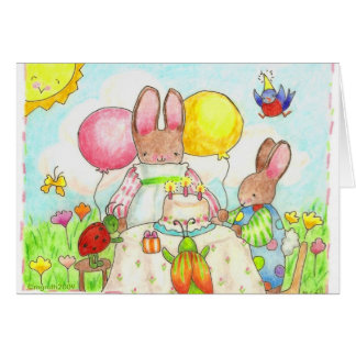 bunny and bug birthday card