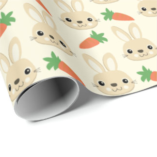 Bunny rabbits wrapping paper zazzle bunny and carrot easter pattern wrapping paper negle Image collections