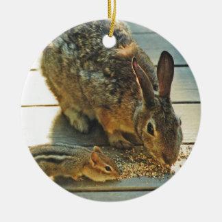 Bunny and Chipmunk Sharing Christmas Ornament