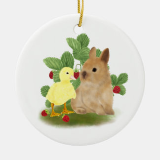 Bunny and Duckling Round Ceramic Decoration