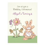 Bunny and Flowers Birthday Invitation ~ Girls