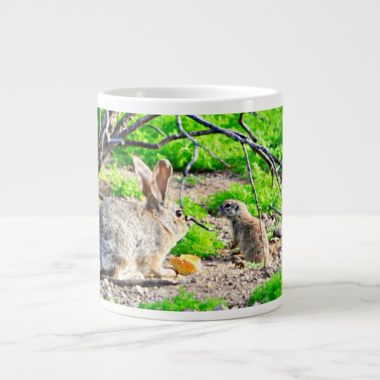 Bunny and Ground Squirrel Coffee Mug/Cup Giant Coffee Mug