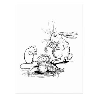 Bunny and Mouse Eat Veggies Postcard