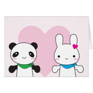 Bunny and Panda Kawaii Valentine Cards