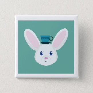 Bunny and Tea 15 Cm Square Badge