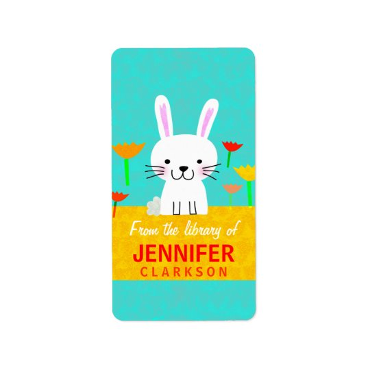 Bunny and Tulips Bookplates Address Label