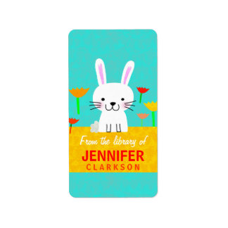 Bunny and Tulips Bookplates Label