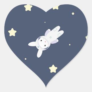 Bunny-astronaut in open space heart sticker