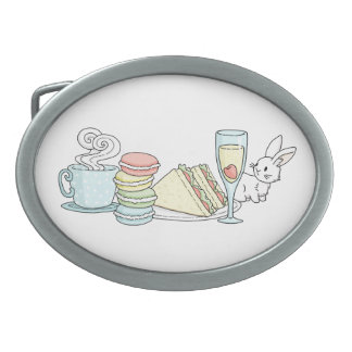 Bunny at Afternoon Tea Oval Belt Buckle