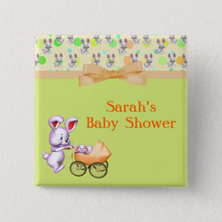 Bunny Babies,Creamy Colors Baby Shower 15 Cm Square Badge