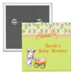 Bunny Babies,Creamy Colours Baby Shower 15 Cm Square Badge
