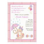 Bunny baby girl sprinkle pink plaid border custom invite