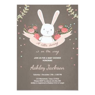 Elegant Bunny Baby Shower Invitation Rabbit Spring Floral