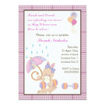 Bunny baby sprinkle purple plaid border personalized invites