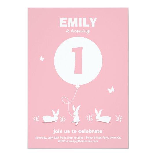 BUNNY BALLOON | Light Pink Kids Birthday Invite