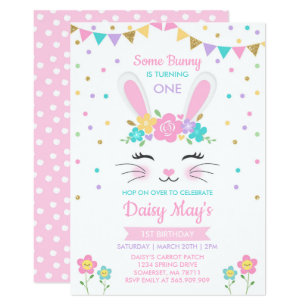 Bunny Birthday Invitations Zazzle Uk