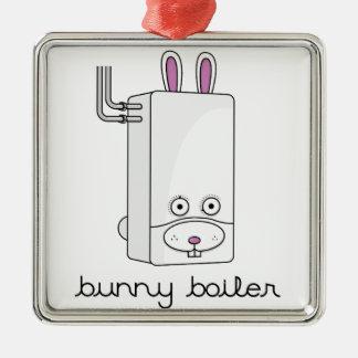 Bunny Boiler Silver-Colored Square Decoration