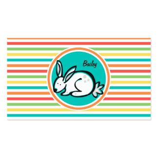 Bunny Bright Rainbow Stripes Business Card