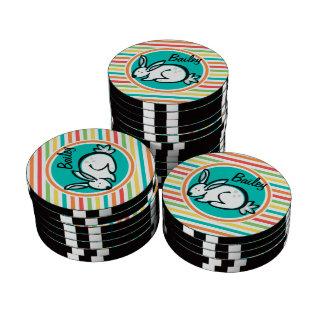 Bunny; Bright Rainbow Stripes Poker Chip Set