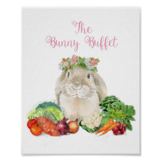 Bunny Buffet Easter Party Poster Decoration