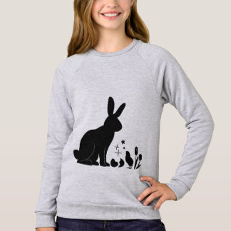 Bunny, Chick and Tulips in Silhouette Sweatshirt