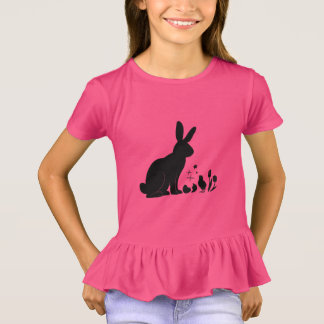 Bunny, Chick and Tulips in Silhouette T-Shirt