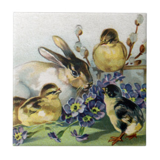Bunny, Chicks and Primroses Vintage Easter Tile
