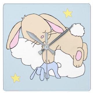 Bunny Cloud Star Woodland Animal Nursery Wall Art Square Wall Clock