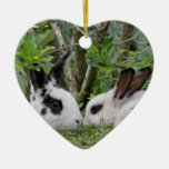 Bunny Couple Ceramic Heart Decoration