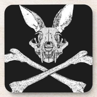 bunny cross bones beverage coaster