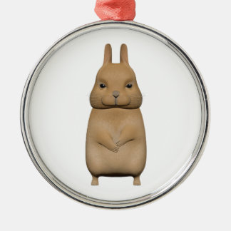 Bunny cute and lovely Silver-Colored round decoration