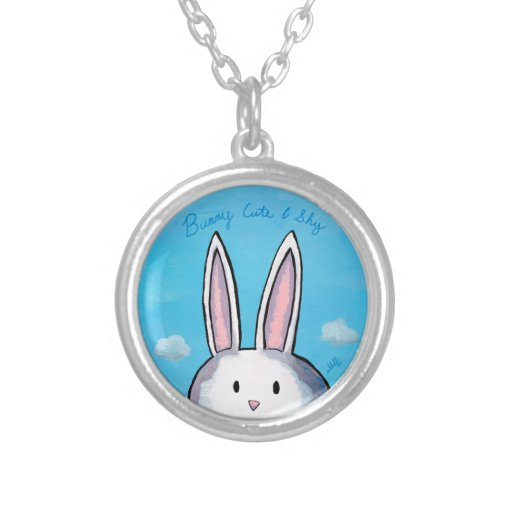 Bunny Cute & Shy Round Necklace - Blue