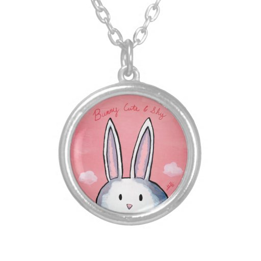 Bunny Cute & Shy Round Necklace - Pink