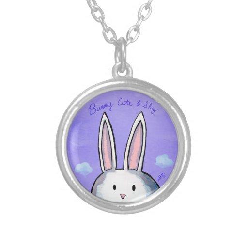 Bunny Cute & Shy Round Necklace - Purple