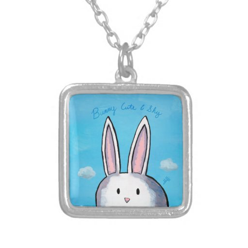 Bunny Cute & Shy Square Necklace - Blue