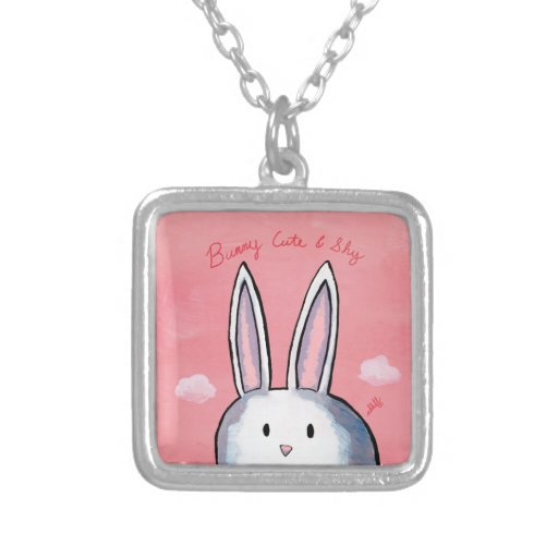 Bunny Cute & Shy Square Necklace - Pink